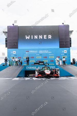 Lucas Di Grassi (BRA), Audi Sport ABT Schaeffler, Audi e-tron FE07, 1st position, drives into Parc Ferme during the 2021 Formula E Round 8 - Puebla E-Prix