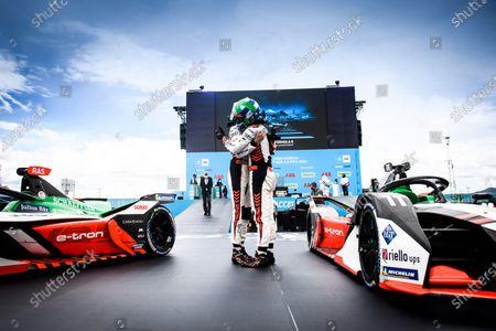 Rene Rast (DEU), Audi Sport ABT Schaeffler, 2nd position, and Lucas Di Grassi (BRA), Audi Sport ABT Schaeffler, 1st position, congratulate each other in Parc Ferme during the 2021 Formula E Round 8 - Puebla E-Prix