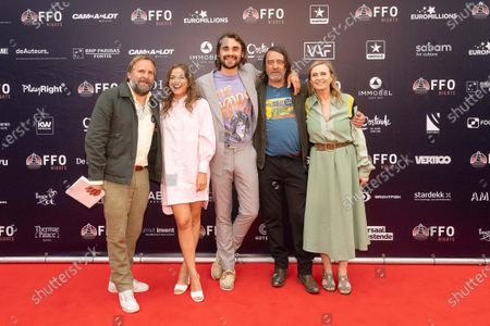 Stock Photo of actor Tom Audenaert, Frances Lefebure, actor Boris Van Severen, actor Wim Willaert and Actress Marijke Pinoy pictured during the first edition of the FFO Night, an alternative to the Oostende Film festival, Saturday 19 June 2021, in Oostende. The FFO Night starts with the avant-premiere of the film 'My father is a saucisse'.