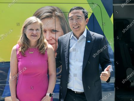 Andrew Yang and Kathryn Garcia campaign in New York City, New York