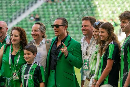 Austin FC co-owner and Minister of Culture Matthew McConaughey on the field prior to the match