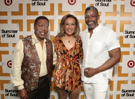 Billy Davis Jr. and Marilyn McCoo, co-founders and lead vocalists of the original 5th Dimension and Musa Jackson attend Searchlight Pictures Summer of Soul Juneteenth Celebration in Marcus Garvey Park on Saturday, June 19,2021 in New York