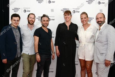 """Harris Gurny, Jonathan Rubenstein, director Austin Stark, Molly Conners, Amanda Bowers and Vincent Morano attend the 2021 Tribeca Festival Premiere of """"The God Committee""""."""