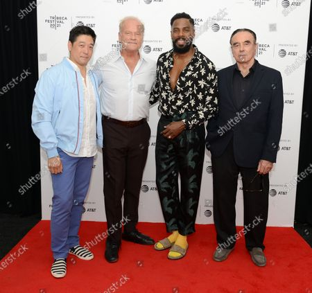 """Peter Kim, Kelsey Grammer, Colman Domingo and Dan Hedaya attend the 2021 Tribeca Festival Premiere of """"The God Committee""""."""