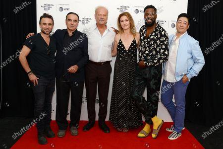 "Director Austin Stark, Dan Hedaya, Kelsey Grammer, Julia Stiles, Colman Domingo and Peter Kim attend the 2021 Tribeca Festival Premiere of ""The God Committee""."