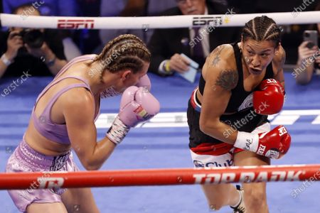 Erica Farias (R) of Argentina in action against Mikaela Mayer (L) of the USA during their 10 round WBO (World Boxing Organization) Female Junior Lightweight Title fight at The Theater at Virgin Hotels in Las Vegas, Nevada, USA, 19 June 2021.