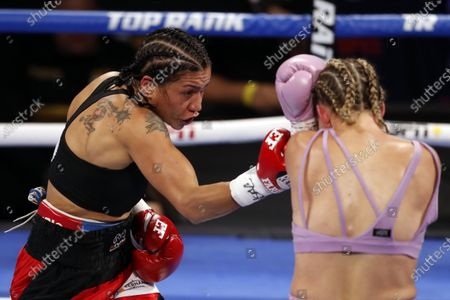 Erica Farias (L) of Argentina in action against Mikaela Mayer (R) of the USA during their 10 round WBO (World Boxing Organization) Female Junior Lightweight Title fight at The Theater at Virgin Hotels in Las Vegas, Nevada, USA, 19 June 2021.