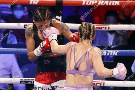 Mikaela Mayer (R) of the USA in action against Erica Farias (L) of Argentina during their 10 round WBO (World Boxing Organization) Female Junior Lightweight Title fight at The Theater at Virgin Hotels in Las Vegas, Nevada, USA, 19 June 2021.
