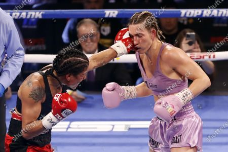 Stock Photo of Erica Farias (L) of Argentina in action against Mikaela Mayer (R) of the USA during their 10 round WBO (World Boxing Organization) Female Junior Lightweight Title fight at The Theater at Virgin Hotels in Las Vegas, Nevada, USA, 19 June 2021.