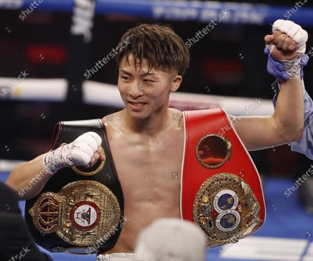 Naoya Inoue of Japan is declared the winner over Michael Dasmarinas of the Philippines following their WBA/IBF Bantamweight Title fight at The Theater at Virgin Hotels in Las Vegas, Nevada, USA, 19 June 2021.