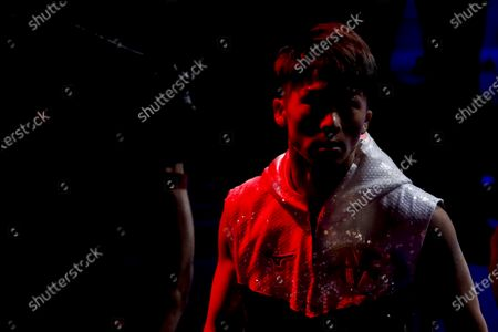 Naoya Inoue of Japan arrives on the ring for his fight against Michael Dasmarinas of the Philippines, a 12 round WBA/IBF Bantamweight title fight at The Theater at Virgin Hotels in Las Vegas, Nevada, USA, 19 June 2021.