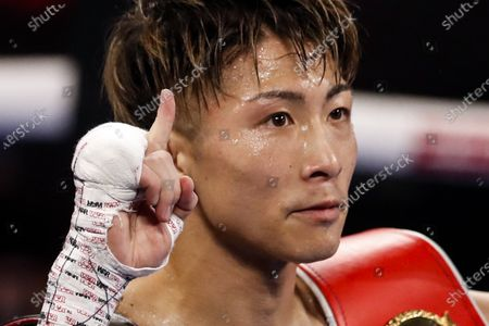 Stock Image of Naoya Inoue of Japan reacts after his victory over Michael Dasmarinas of the Philippines in their 12 round WBA/IBF Bantamweight title fight at The Theater at Virgin Hotels in Las Vegas, Nevada, USA, 19 June 2021.