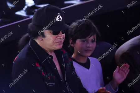 Bassist and co-lead singer of Kiss, Israeli-American musician Gene Simmons (L) attends the boxing match between Michael Dasmarinas and Naoya Inoue fight at The Theater at Virgin Hotels in Las Vegas, Nevada, USA, 19 June 2021.