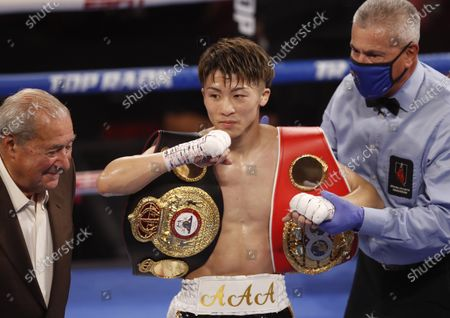 Naoya Inoue (C) of Japan is declared the winner over Michael Dasmarinas of the Philippines following their WBA/IBF Bantamweight Title fight at The Theater at Virgin Hotels in Las Vegas, Nevada, USA, 19 June 2021.