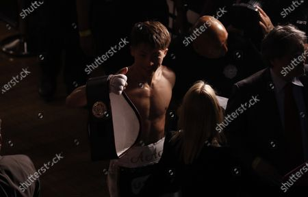 Naoya Inoue of Japan leaves the arena after defeating Michael Dasmarinas of the Philippines following their WBA/IBF Bantamweight Title fight at The Theater at Virgin Hotels in Las Vegas, Nevada, USA, 19 June 2021.