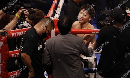 Naoya Inoue of Japan smiles in his corner at the conclusion of his 12 round WBA/IBF Bantamweight Title fight against Michael Dasmarinas of the Philippines at The Theater at Virgin Hotels in Las Vegas, Nevada, USA, 19 June 2021.