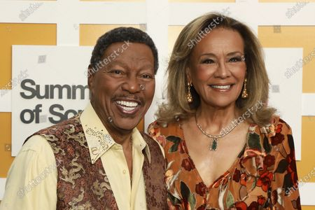 """Stock Picture of Billy Davis and Marilyn McCoo attends a special screening of """"Summer of Soul"""" at The Richard Rodgers Amphitheater at Marcus Garvey Park, in New York"""