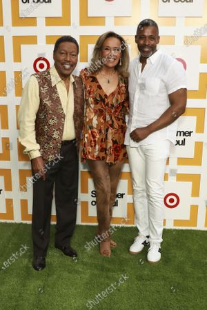 """Billy Davis, Marilyn McCoo and Musa Jackson attend a special screening of """"Summer of Soul"""" at The Richard Rodgers Amphitheater at Marcus Garvey Park, in New York"""