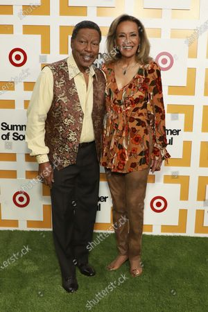 """Stock Photo of Billy Davis and Marilyn McCoo attend a special screening of """"Summer of Soul"""" at The Richard Rodgers Amphitheater at Marcus Garvey Park, in New York"""