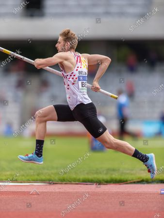 Stock Image of Belgian Robin Bodart pictured in action during the second day of the European Athletics Team Championships First League athletics meeting, Sunday 20 June 2021, in Cluj-Napoca, Romania.