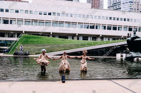 Kimberly Nichole, Nona Hendryx and Marcelle Lashley peform in the Milstein Pool at Hearst Plaza in Lincoln Center.