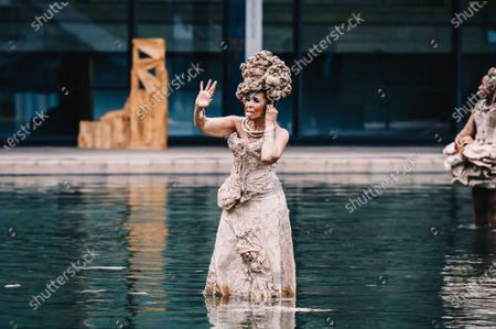 Stock Image of Nona Hendryx peforms in the Milstein Pool at Hearst Plaza in Lincoln Center.