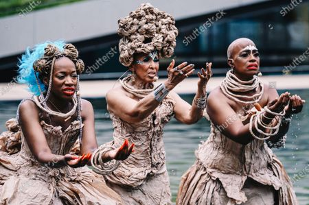 Stock Photo of Kimberly Nichole, Nona Hendryx and Marcelle Lashley peform in the Milstein Pool at Hearst Plaza in Lincoln Center.