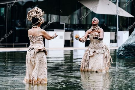 Nona Hendryx and Marcelle Lashley peform in the Milstein Pool at Hearst Plaza in Lincoln Center.