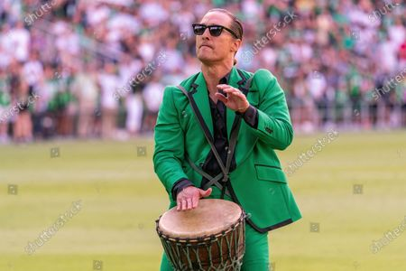 Austin FC co-owner and Minister of Culture Matthew McConaughey on the field before the match between Austin FC and the San Jose Earthquakes on June 19, 2021, in Austin, Texas.