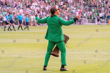 Stock Image of Austin FC co-owner and Minister of Culture Matthew McConaughey on the field before the match between Austin FC and the San Jose Earthquakes on June 19, 2021, in Austin, Texas.