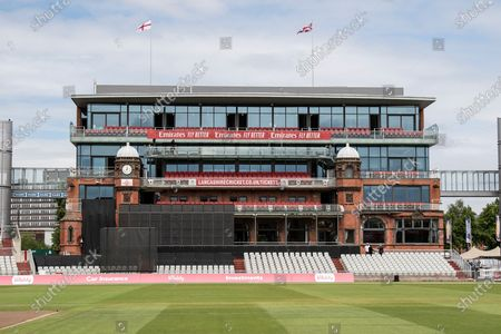 The James Anderson end during the Vitality T20 Blast North Group match between Lancashire County Cricket Club and Nottinghamshire County Cricket Club at the Emirates, Old Trafford, Manchester