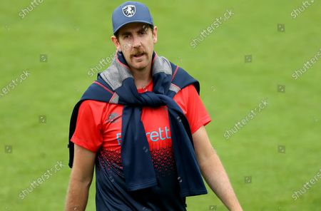 Matt Quinn of Kent leaves the pitch during Kent Spitfires vs Essex Eagles, Vitality Blast T20 Cricket at the Spitfire Ground on 20th June 2021