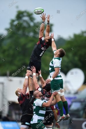Michael Rhodes of Saracens rises high to win lineout ball