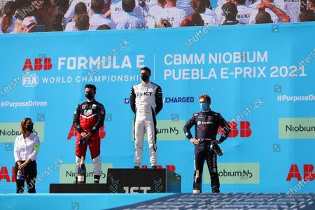 Delphine Biscaye, Team Manager, Venturi,Pascal Wehrlein (DEU), Tag Heuer Porsche , 2nd position, Edoardo Mortara (CHE), Venturi Racing, 1st position, and Nick Cassidy (NZL), Envision Virgin Racing, 3rd position, on the podium during the 2021 Formula E Round 9 - Puebla E-Prix