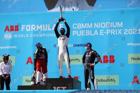 Delphine Biscaye, Team Manager, Venturi, Pascal Wehrlein (DEU), Tag Heuer Porsche, 2nd position, Edoardo Mortara (CHE), Venturi Racing, 1st position, and Nick Cassidy (NZL), Envision Virgin Racing, 3rd position, on the podium during the 2021 Formula E Round 9 - Puebla E-Prix
