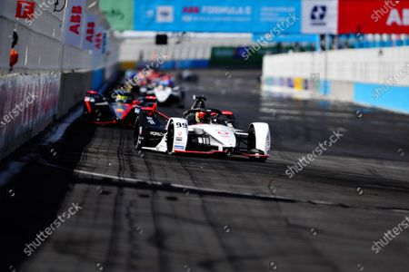 Pascal Wehrlein (DEU), Tag Heuer Porsche, Porsche 99X Electric, leads Oliver Rowland (GBR), Nissan e.Dams, Nissan IMO2 during the 2021 Formula E Round 9 - Puebla E-Prix