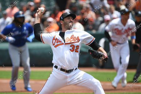 Baltimore Orioles starting pitcher Matt Harvey throws a pitch during the first inning of a baseball game against the Toronto Blue Jays, in Baltimore