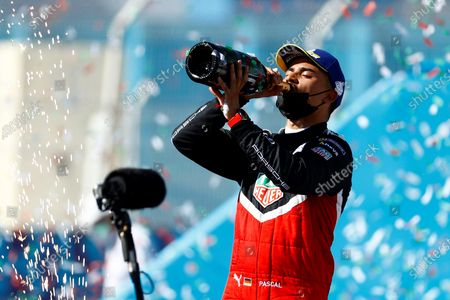 German Pascal Wehrlein, of Porsche team, celebrates after winning the third place in the second race of Formula E championship, at Miguel E. Abedin racecar in the state of Puebla, Mexico, 20 June 2021.