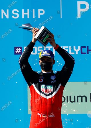 German Pascal Wehrlein, of Porsche, celebrates his second place after the second race of Formula E championship, at Miguel E. Abedin racecar in the state of Puebla, Mexico, 20 June 2021.