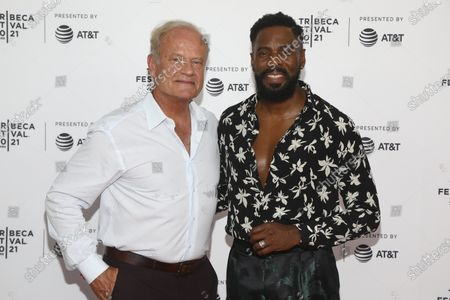"""Actors Kelsey Grammer, left, and Colman Domingo, right, attend the premiere of """"The God Committee"""" during the 20th Tribeca Festival at Brooklyn Commons MetroTech, in New York"""