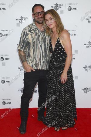 """Preston J. Cook, left, and actress Julia Stiles attends the premiere of """"The God Committee"""" during the 20th Tribeca Festival at Brooklyn Commons MetroTech, in New York"""