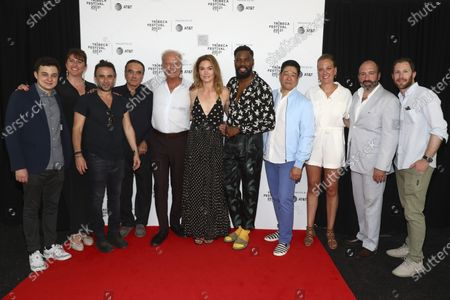 """Harris Gurny, from left, Molly Conners, Austin Stark, Dan Hedaya, Kelsey Grammer, Julia Stiles, Colman Domingo, Peter Kim, Amanda Bowers, Vincent Morano and Jonathan Rubenstein attend the premiere of """"The God Committee"""" during the 20th Tribeca Festival at Brooklyn Commons MetroTech, in New York"""