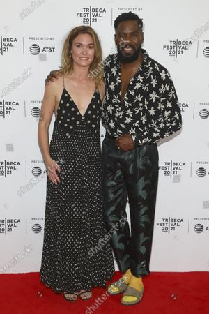"""Actress Julia Stiles, left, and actor Colman Domingo, right, attend the premiere of """"The God Committee"""" during the 20th Tribeca Festival at Brooklyn Commons MetroTech, in New York"""