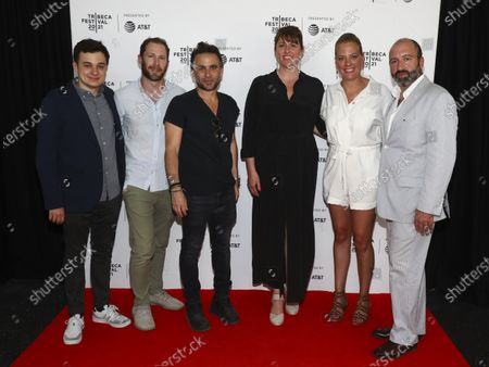 """Stock Photo of Harris Gurny, from left, Jonathan Rubenstein, Austin Stark, Molly Conners, Amanda Bowers and Vincent Morano attend the premiere of """"The God Committee"""" during the 20th Tribeca Festival at Brooklyn Commons MetroTech, in New York"""