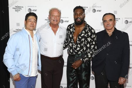 """Actors Peter Kim, from left, Kelsey Grammer, Colman Domingo and Dan Hedaya attend the premiere of """"The God Committee"""" during the 20th Tribeca Festival at Brooklyn Commons MetroTech, in New York"""