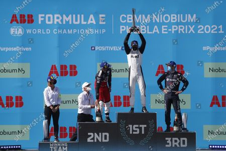 Delphine Biscaye, Team Manager, Venturi, Pascal Wehrlein (DEU), Tag Heuer Porsche, 2nd position, Edoardo Mortara (CHE), Venturi Racing, 1st position, with his trophy and Nick Cassidy (NZL), Envision Virgin Racing, 3rd position, on the podium during the 2021 Formula E Round 9 - Puebla E-Prix