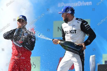 Pascal Wehrlein (DEU), Tag Heuer Porsche, 2nd position, and Edoardo Mortara (CHE), Venturi Racing, 1st position, with Champagne during the 2021 Formula E Round 9 - Puebla E-Prix