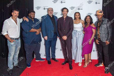 """John Bianco, Johnny """"Boogotti"""" Hopkins, Glenn Fleshler, Adrien Brody, Chandler Air-Dupont, Michelle Wilson and Jade Yorker attend the Clean Premiere during the 2021 Tribeca Festival at Brooklyn Commons, MetroTech in New York City."""