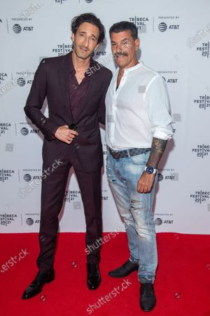 Stock Picture of Adrien Brody and John Bianco attend the Clean Premiere during the 2021 Tribeca Festival at Brooklyn Commons, MetroTech in New York City.