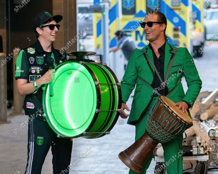 Stock Picture of Matthew McConaughey prepares to perform before the start of the inaugural home game between the San Jose Earthquakes and Austin FC at Q2 Stadium on June 19, 2021 in Austin, Texas.